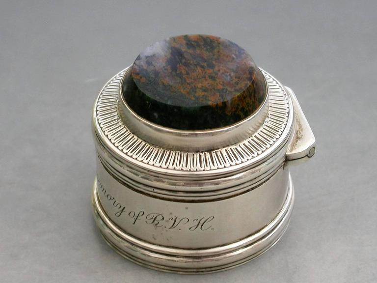Victorian Scottish Silver And Hardstone Memorial Pill Box