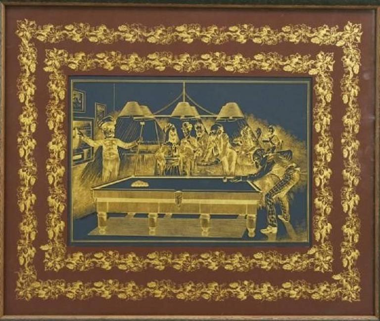 Late Victorian engraved glass panel depicting a game of snooker in progress. It is reputed the players are Queen Victoria, John Bull, Punch and Gladstone with other political and military figures around the table. Signed Winterhoff Inv, London.