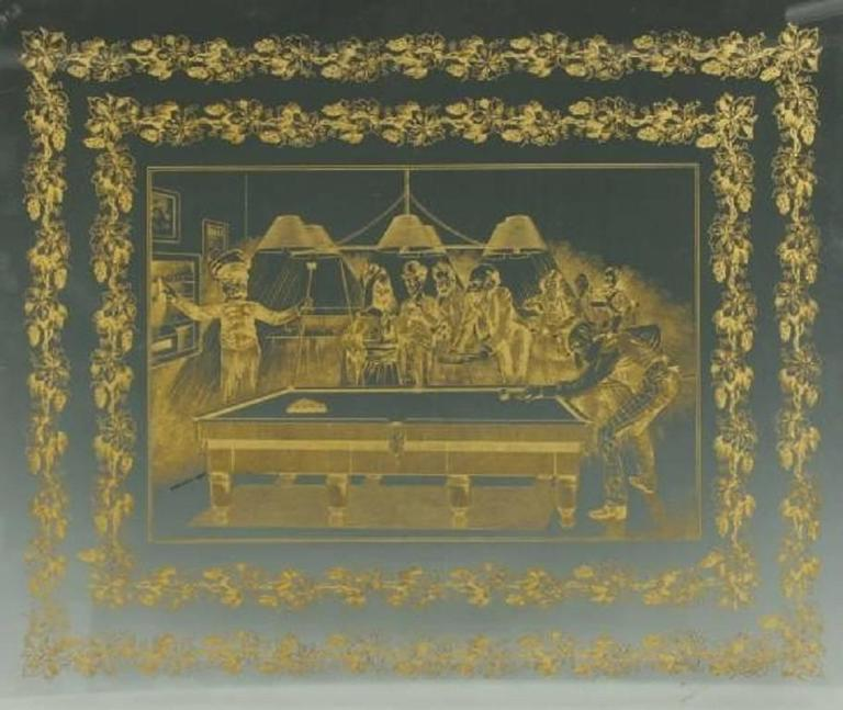 British Antique Billiard or Snooker, Pool Engraved Glass Panel For Sale