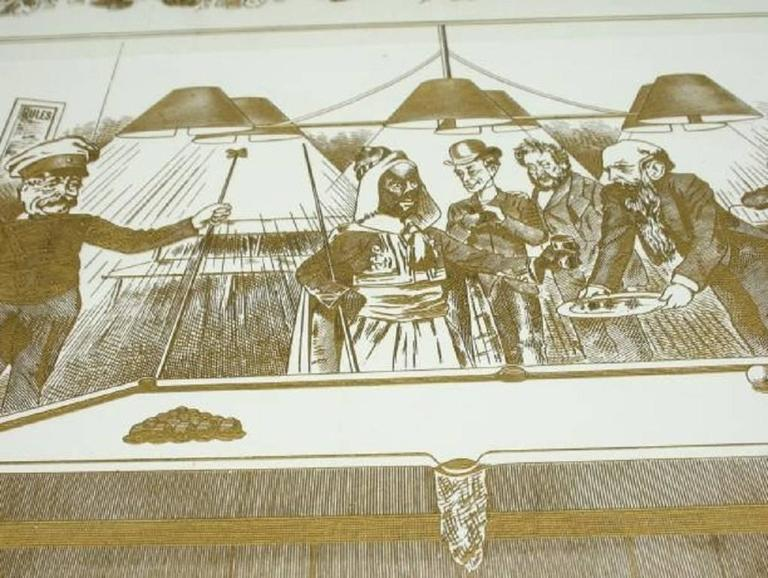 20th Century Antique Billiard or Snooker, Pool Engraved Glass Panel For Sale