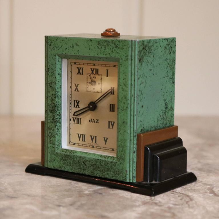 Art deco travelling alarm clock and case at 1stdibs Art deco alarm clocks