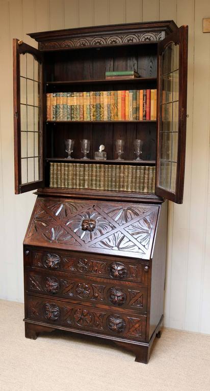 carved oak green man bureau bookcase for sale at 1stdibs. Black Bedroom Furniture Sets. Home Design Ideas