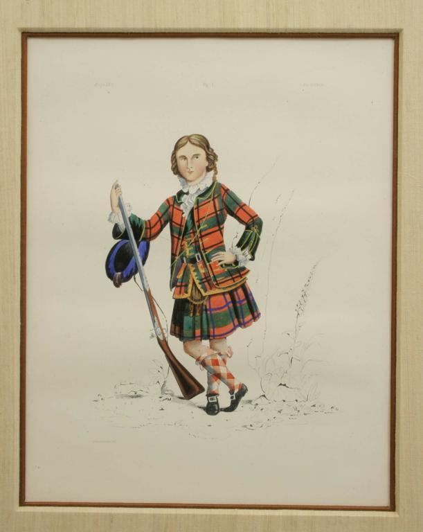 Sporting Art Antique Scottish Shooting Engraving of Sir James Macdonald, Boy with Gun For Sale