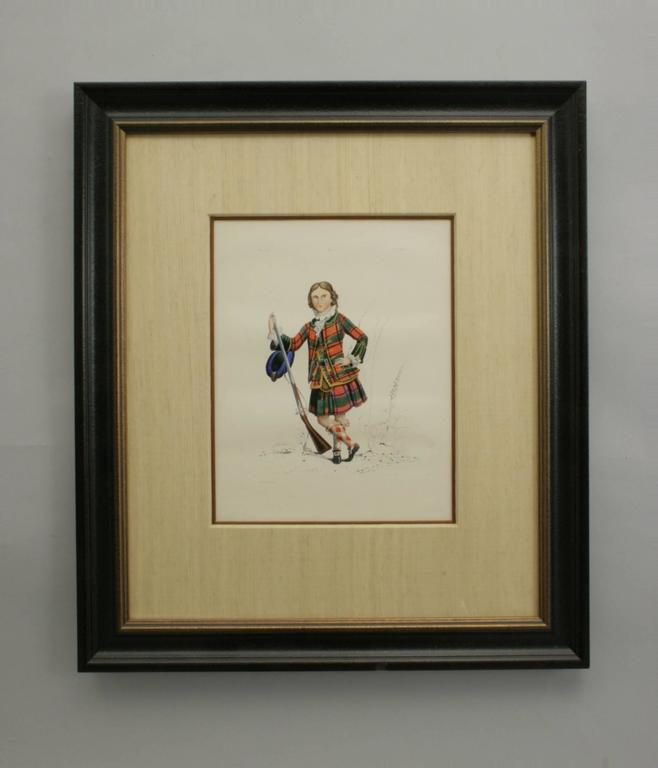 Antique Scottish Shooting Engraving of Sir James Macdonald, Boy with Gun In Good Condition For Sale In Oxfordshire, GB