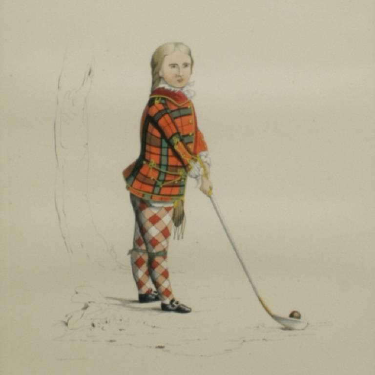 19th Century Antique Scottish Shooting Engraving of Sir James Macdonald, Boy with Gun For Sale