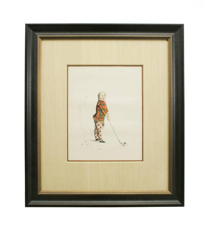 Paper Antique Scottish Shooting Engraving of Sir James Macdonald, Boy with Gun For Sale