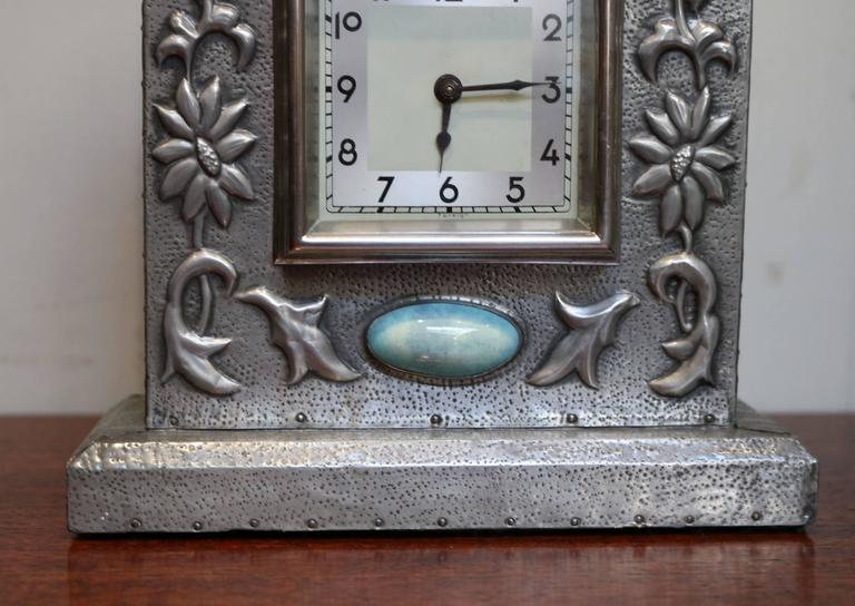 Arts and crafts style pewter mantel clock at 1stdibs for Arts and crafts mantle clock