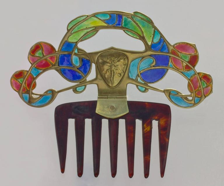 Archibald Knox Art Nouveau Opal Enamel Gold Diadem Comb for Liberty & Co. In Good Condition For Sale In London, GB