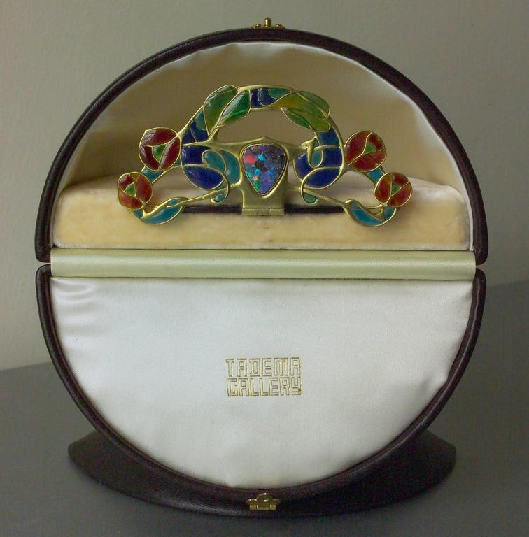 Women's Archibald Knox Art Nouveau Opal Enamel Gold Diadem Comb for Liberty & Co. For Sale