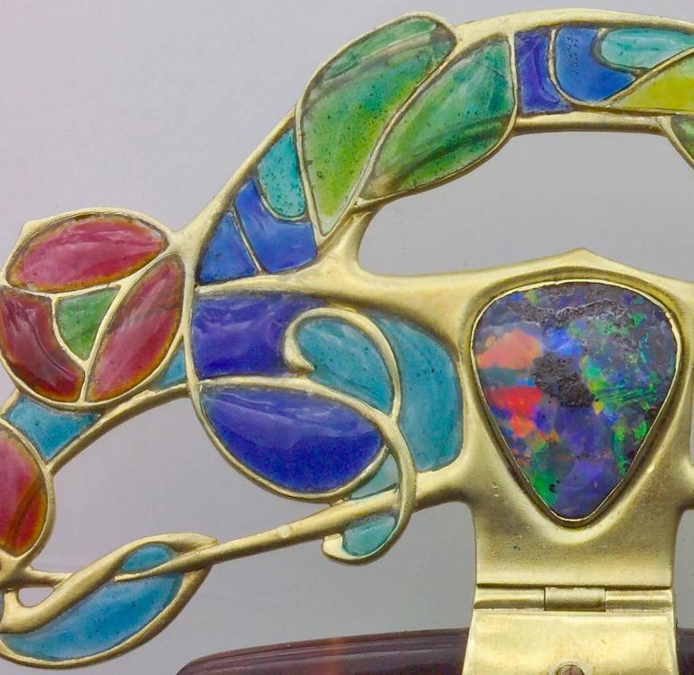 Archibald Knox Art Nouveau Opal Enamel Gold Diadem Comb for Liberty & Co. For Sale 1