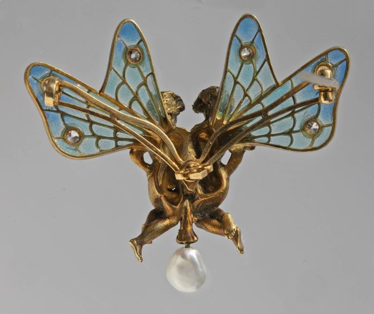 Plisson & Hartz Art Nouveau Twin Fairy Diamond Pearl Gold Brooch 2