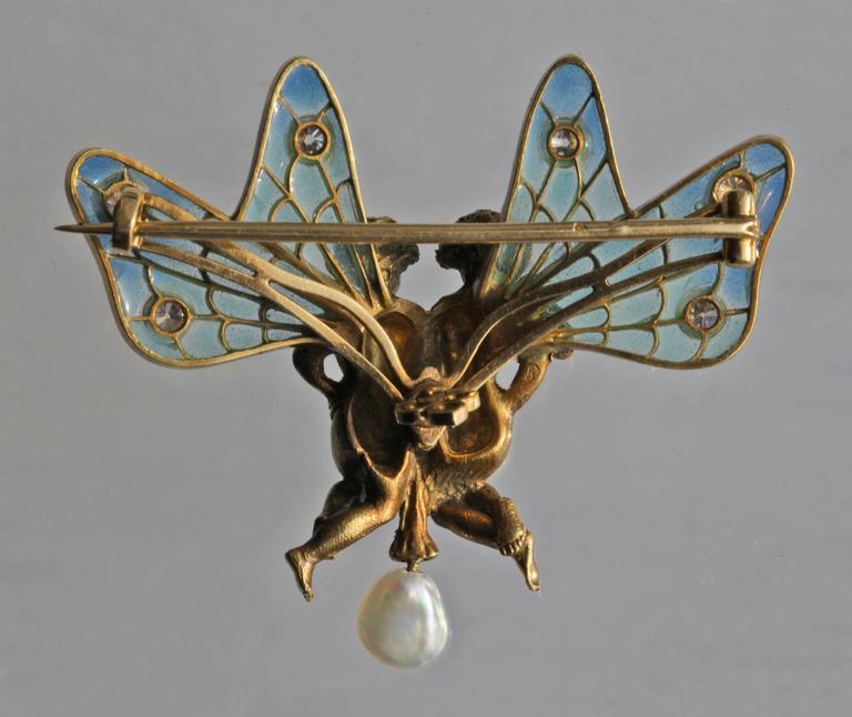 Plisson & Hartz Art Nouveau Twin Fairy Diamond Pearl Gold Brooch 3