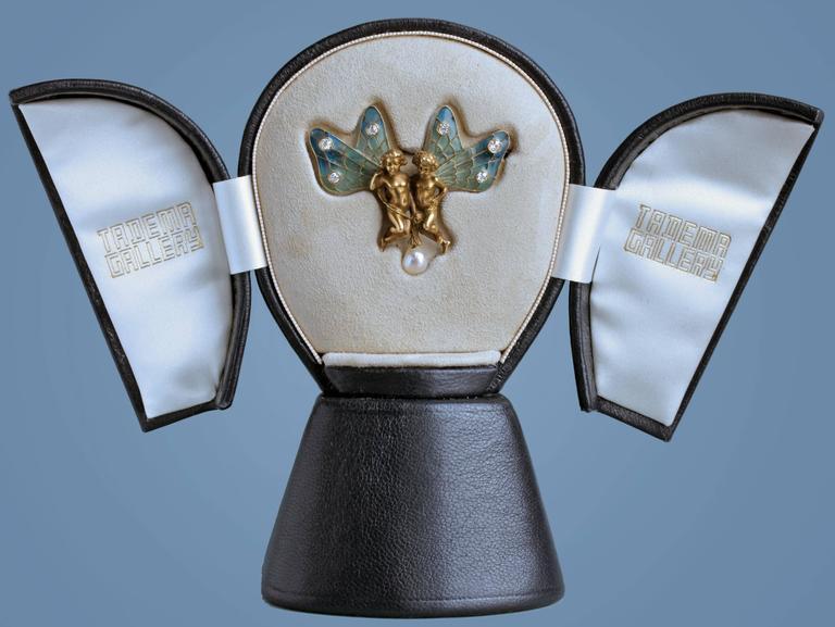 Plisson & Hartz Art Nouveau Twin Fairy Diamond Pearl Gold Brooch 5