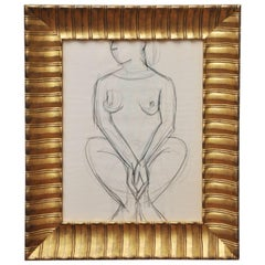 20th Century Nude Line Drawing in Hand Gilded Frame