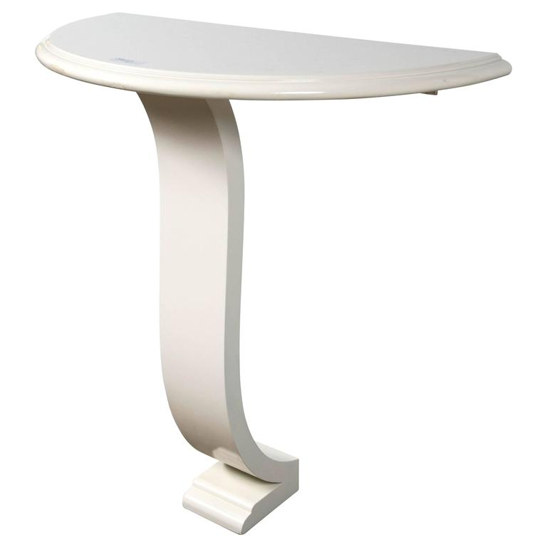 E J Victor One Fifth Demilune Off White Lacquered Console Table For Sale