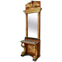 Carved Mahogany and Giltwood Neoclassical Console with Mirror by P.G Bylanders,