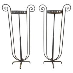 Pair of French Antique Wrought Iron Planters