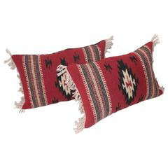 Pair of Geometric Indian Weaving Fringed Pillows