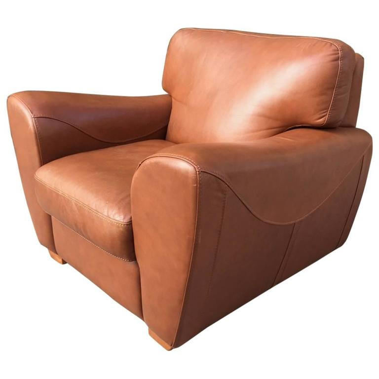 Oversize Italian Leather Club Chair For