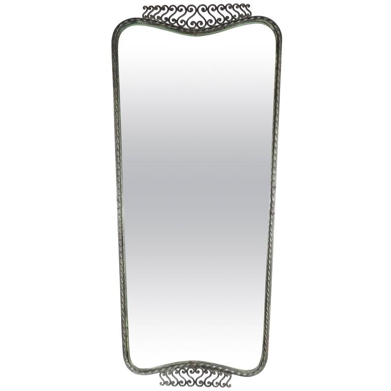 Sophisticated Art Deco Wrought Iron Shield Form Mirror with Scroll Detailing