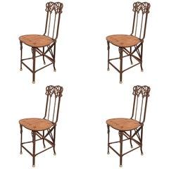 Set of Four Art Nouveau Cast Iron Folding Chairs with Wood Seats
