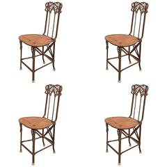 Set of Four Art Nouveau Cast Iron Folding Chairs with Wood Seats