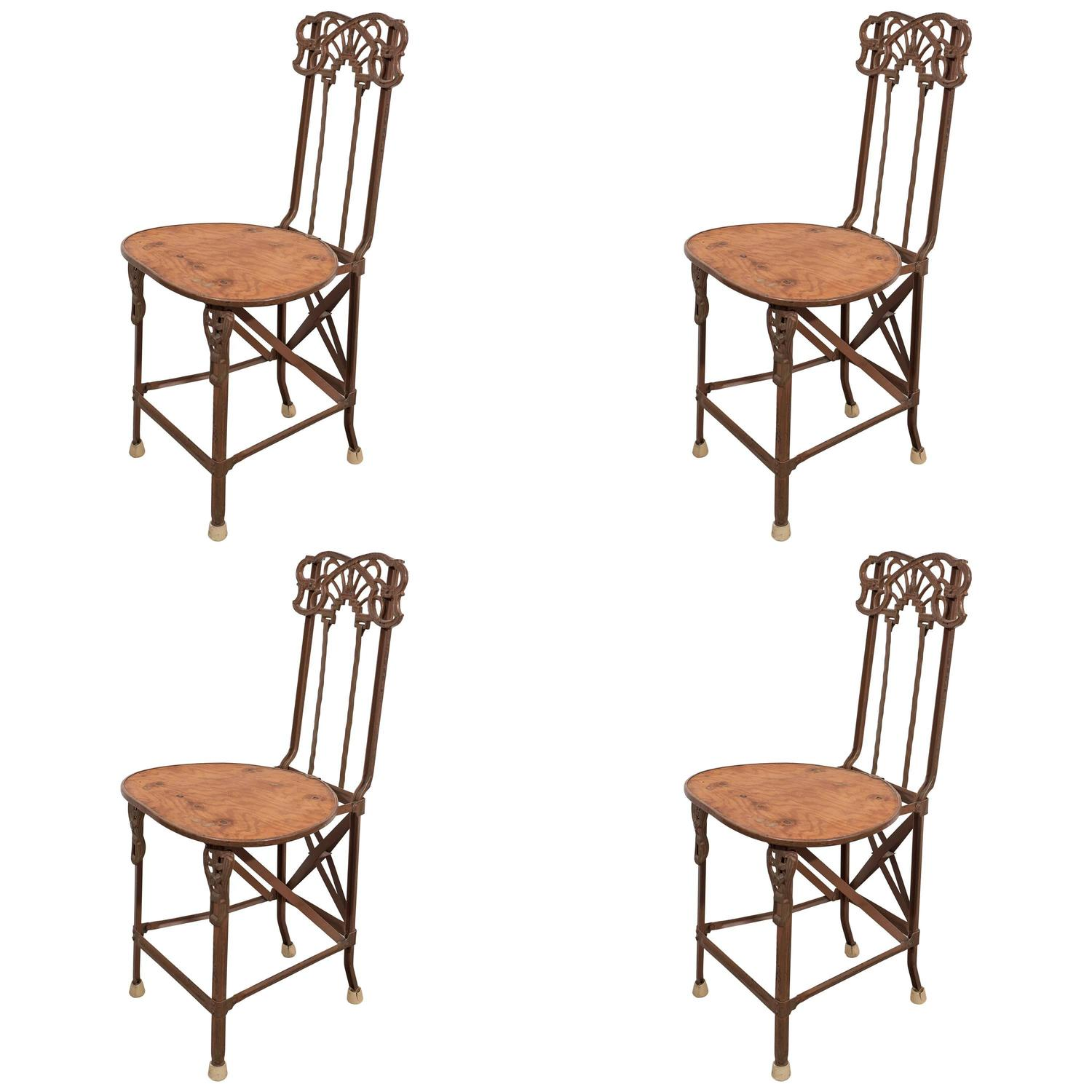 modern art nouveau furniture. Set Of Four Art Nouveau Cast Iron Folding Chairs With Wood Seats For Sale At 1stdibs Modern Furniture