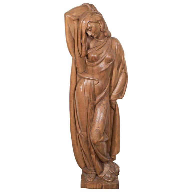 Modernist Wooden Sculpture of a Woman, Attributed to Albert Wein