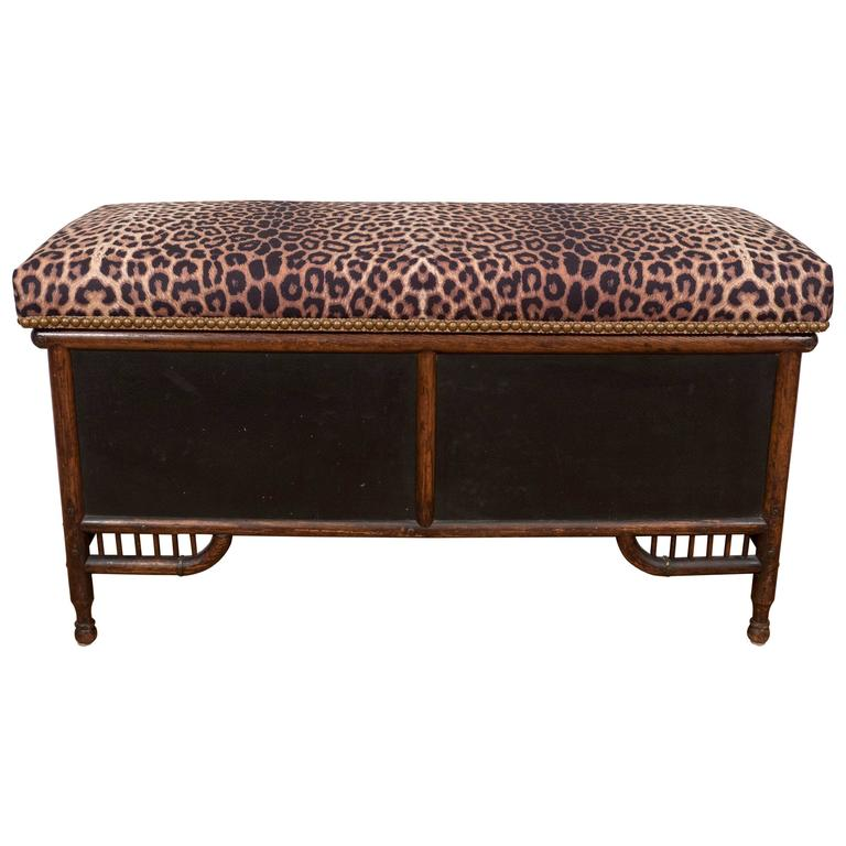 Victorian Faux Bamboo Storage Bench With Upholstered Cushioned Seat At 1stdibs