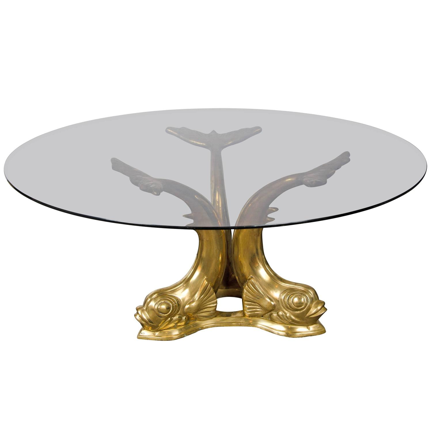 Belgium Brass Dolphin Coffee Table At 1stdibs