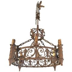 Antique French Forged Iron Chandelier with Fleur de Lys Motifs