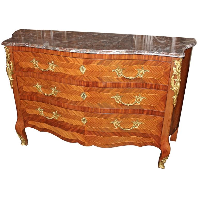 Early 20th Century French Louis XV Marble-Top Commode