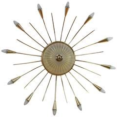 Mid-Century Italian Twelve-Light Brass Sputnik Sunburst Chandelier Flush Mount