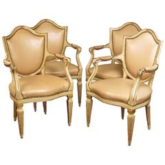 Set of Four North Italian Neoclassic Cream Painted and Parcel Gilt Armchairs