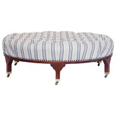 Large Round Tufted Ottoman with Striped Upholstery