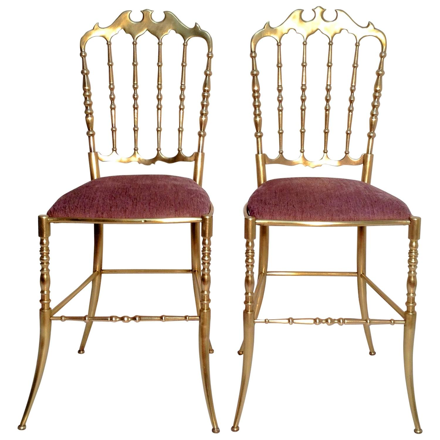 A Pair of Mid Century Polished Brass Chiavari Chairs Italy at 1stdibs