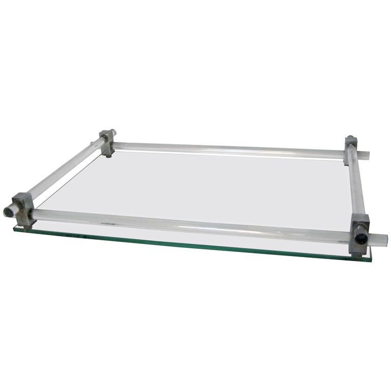 Art Deco Nickel Acrylic And Glass Vanity Tray At 1stdibs