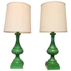 A Pair Of Italian Painted Tole Lamp Bases