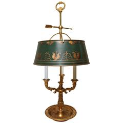 A French Bronze and Tole Bouillotte Lamp