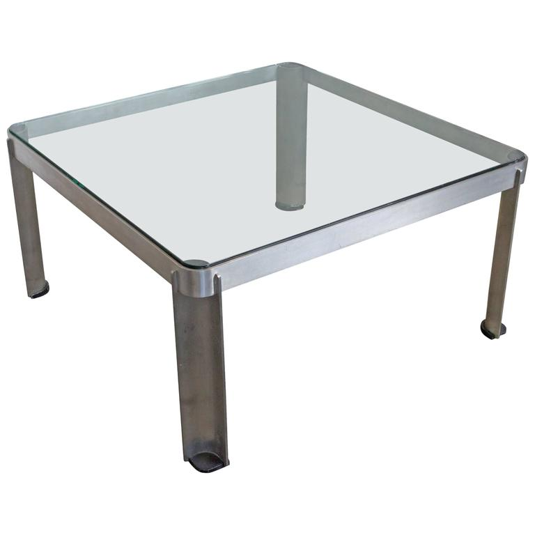 1980s French Aluminium and Glass Coffee Table