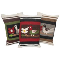 Group of Three Mexican Indian Weaving Pillows