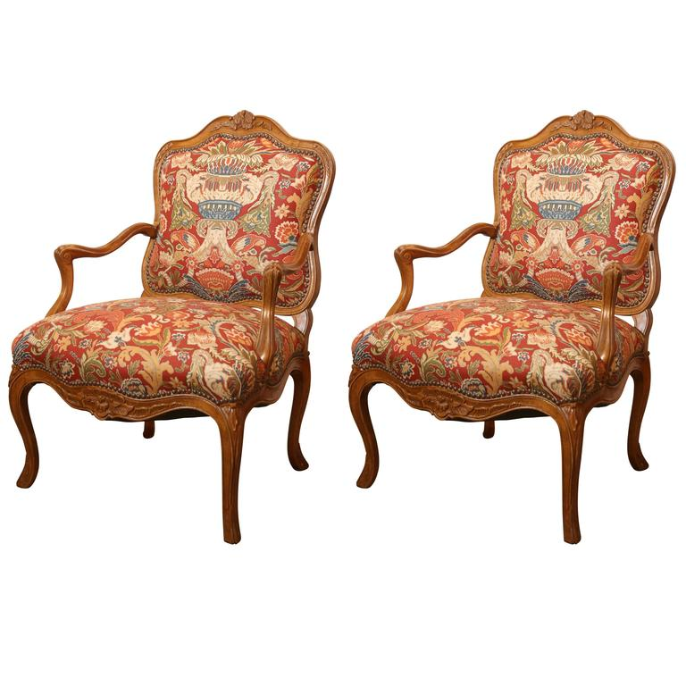 Pair of Lovely Vintage Walnut Louis XV Style French Fauteuils