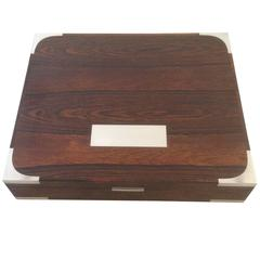 Huge Hans Hansen Rosewood Box with Sterling Silver Inlay