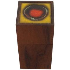 Alfred Klitgaard Rosewood Box Danish with Ceramic Tile by Bodil Eje