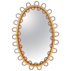 Italian Bamboo Oval Mirror