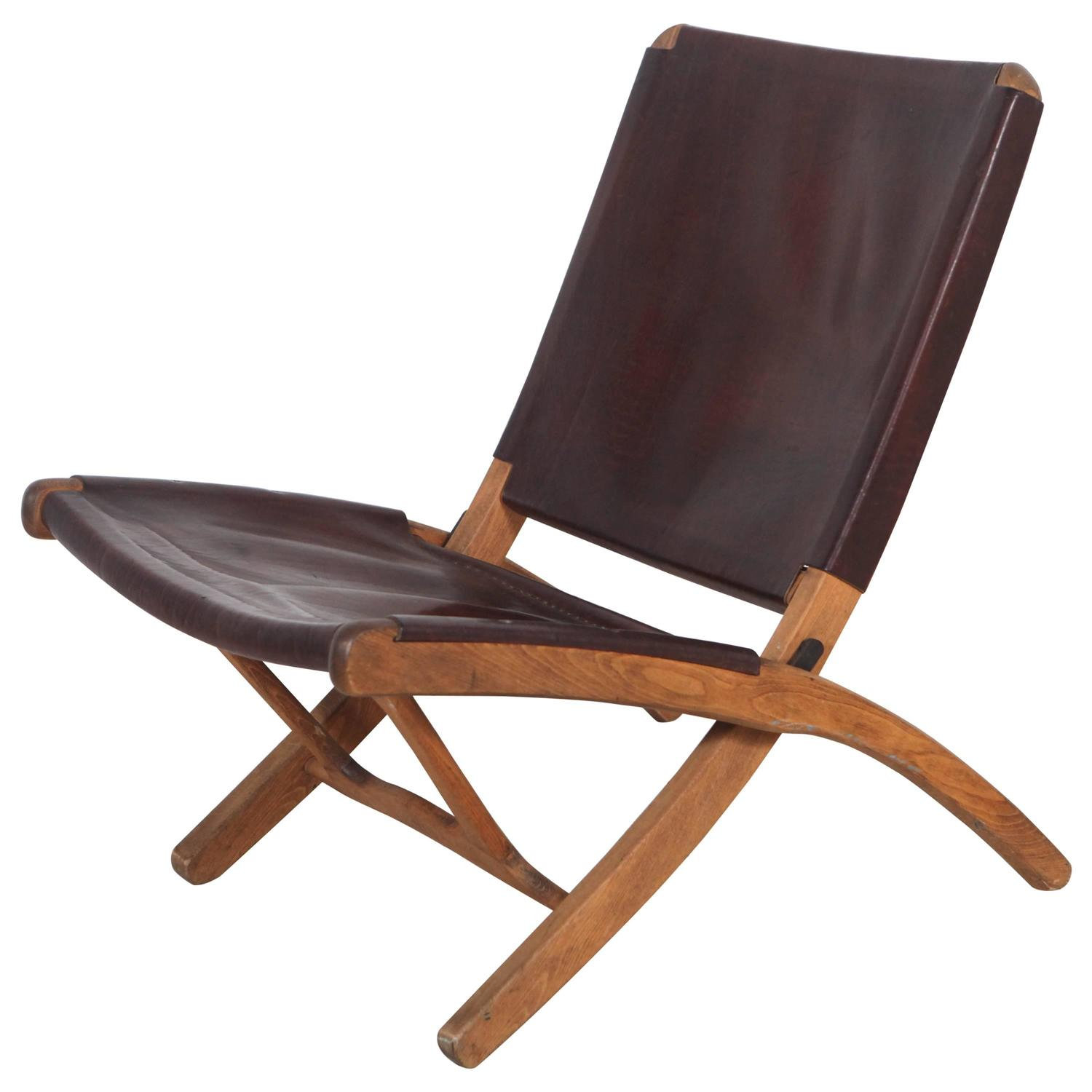 Italian Leather and Wood Folding Chair at 1stdibs