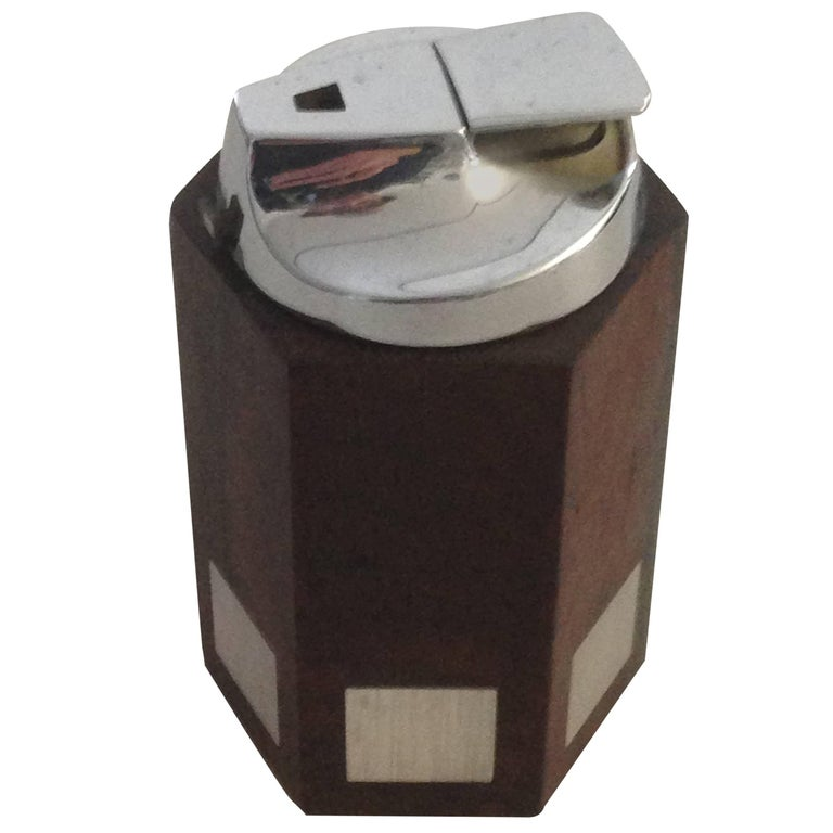 Hans Hansen Rosewood Lighter with Sterling Silver Inlay For Sale