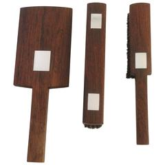 Hans Hansen Rosewood Brush and Mirror Set with Sterling Inlay