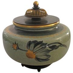Royal Copenhagen Vase with Bronze Lid and Stand by Knud Andersen