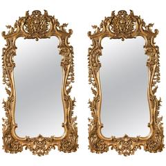 Pair of Monumental Louis XV Style Giltwood Mirrors Exquisite Details